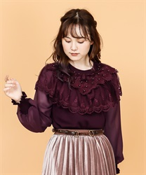 Lace design pullover(Wine-Free)