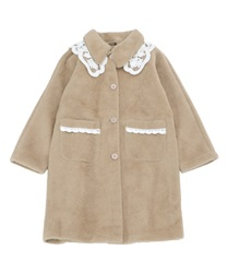 Layered lace collar coat(Beige-Free)