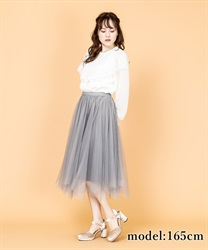 【2Buy10%OFF】Velor reversible skirt(Grey-Free)