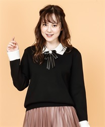 Brooch with knit pullover(Black-Free)