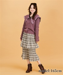 Check tiered skirt(Ecru-Free)