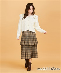 Check tiered skirt(Brown-Free)