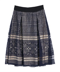 【10%OFF】Lace skirt(Navy-Free)