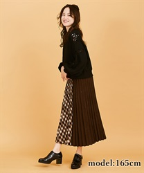【10%OFF】Check×plain pleated skirt(Brown-Free)