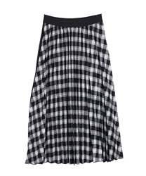 【10%OFF】Check×plain pleated skirt(Black-Free)