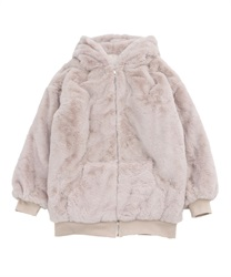 Fur coat with hood(Beige-Free)