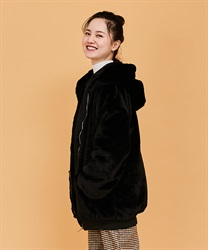 Fur coat with hood(Black-Free)