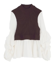 Layered style tops(Brown-Free)
