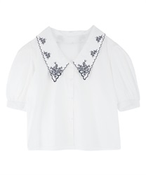 Collar Flower Embroidery Blouse(White-Free)