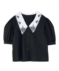 Collar Flower Embroidery Blouse(Black-Free)