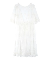 Lacy Embroidery Gown(White-Free)