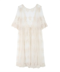 Lacy Embroidery Gown(Beige-Free)