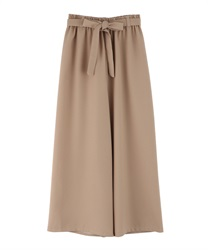 Waist ribbon wide pants(Beige-Free)