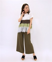 Waist ribbon wide pants(Mocha-Free)