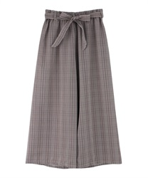 Plaid wide pants(Brown-Free)