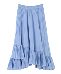 Stripe irregular hem Skirt(Blue-Free)