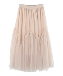 Tulle and Ribbon Skirt(Beige-Free)