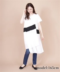 Different Material x Pleated T-Shirt Dress(White-Free)