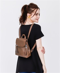 Double Zip Mini Backpack(Brown-M)