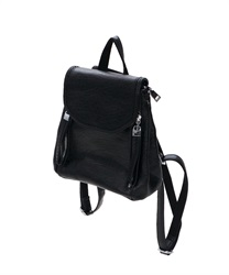 Double Zip Mini Backpack(Black-M)
