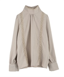 Vertical lace stand collar blouse(Beige-Free)
