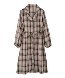Plaid shirt dress(Beige-Free)