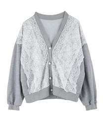 Lace short cardigan(Grey-Free)