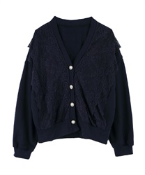 Lace short cardigan(Navy-Free)