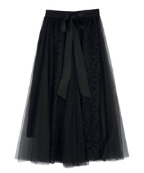Flower lace and tulle skirt(Black-Free)