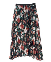 Floral print pleated SK(Black-Free)