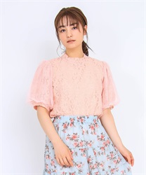 Floral Lace Pullover(Pale pink-M)