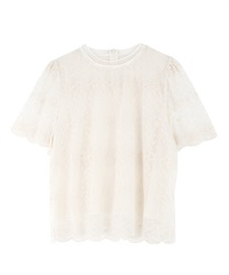 【2Buy20%OFF】Lace scallop PO(Beige-Free)