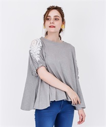 【2Buy20%OFF】Lace Cut PO with pearl sleeves(Grey-Free)