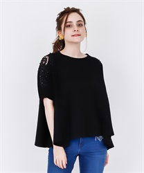 【2Buy20%OFF】Lace Cut PO with pearl sleeves(Black-Free)