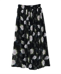 FlowerMotif Pleated Midi Skirt(Black-Free)
