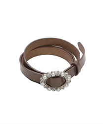 Cowhide Adjustable Thin Belt wit Pearl Decoration Buckle(Brown-M)