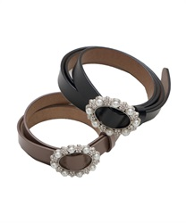 Cowhide Adjustable Thin Belt wit Pearl Decoration Buckle