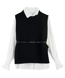Shirt Blouse and Knit Vest Ensemble with Thin Belt(Black-Free)