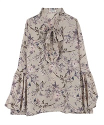 Floral Patterned Bow Tie Blouse with Balloon Sleeve(Beige-Free)