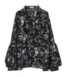 Floral Patterned Bow Tie Blouse with Balloon Sleeve(Black-Free)