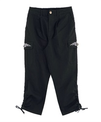Pocket Embroidery Cargo Pants(Black-M)
