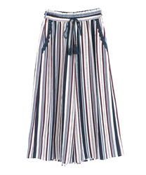 Striped gaucho pants(White-Free)