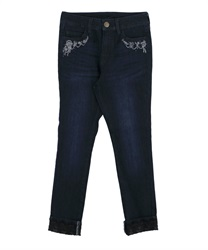 Stretchy Denim Leggings with Flower Embroidery(Indigo-S)