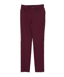 Stretchy Leggings with Button and Lace Decoration(Wine-Free)