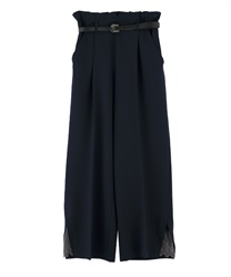 "Wide Pants with ""Removable Belt""(Navy-Free)"
