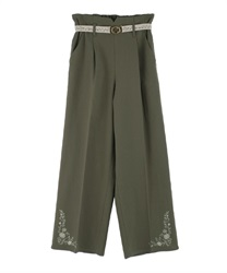Hem embroidered linen pants