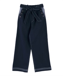 Buttoned design denim wide pants(Indigo-Free)