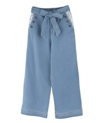 Buttoned design denim wide pants(Bleach-Free)