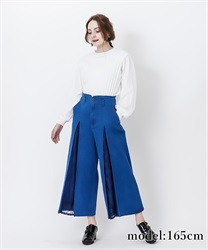 Lace crossover demin wide pant(Wash-Free)