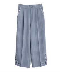 Stripe wide pant in embroidery design(Saxe blue-Free)